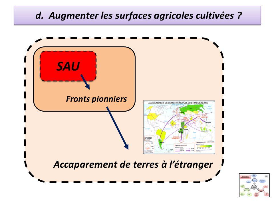 d. Augmenter les surfaces agricoles cultivées ? SAU Fronts pionniers Accaparement de terres à létranger