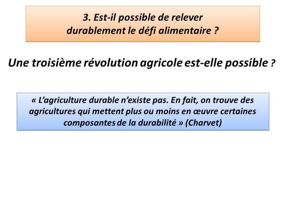 3. Est-il possible de relever durablement le défi alimentaire ? Une troisième révolution agricole est-elle possible ? « Lagriculture durable nexiste p