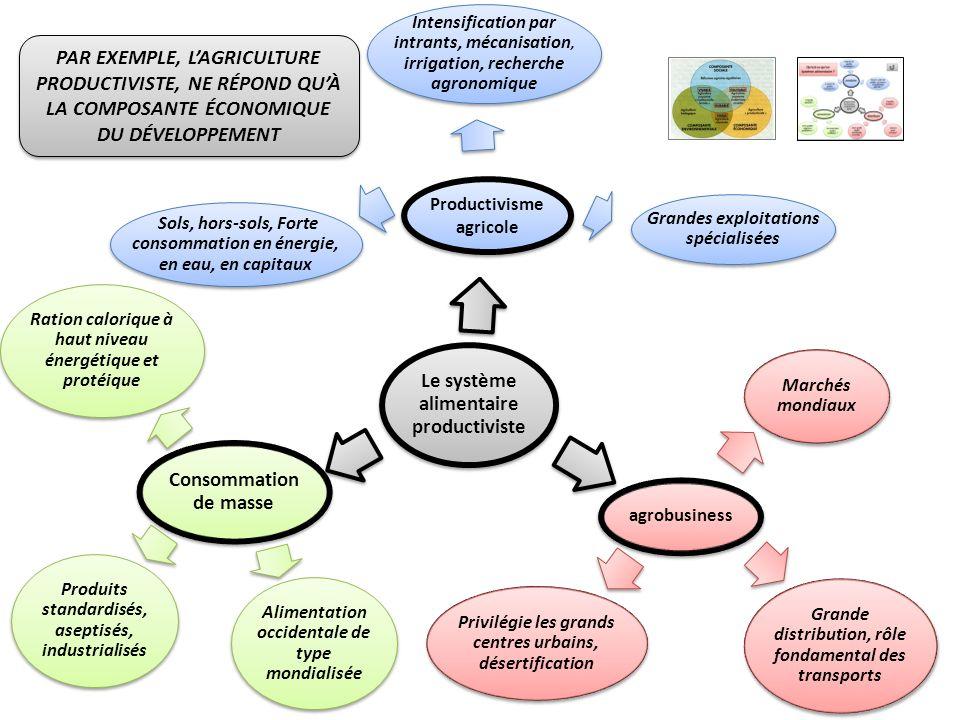 Le système alimentaire productiviste agrobusiness Consommation de masse Productivisme agricole Intensification par intrants, mécanisation, irrigation,