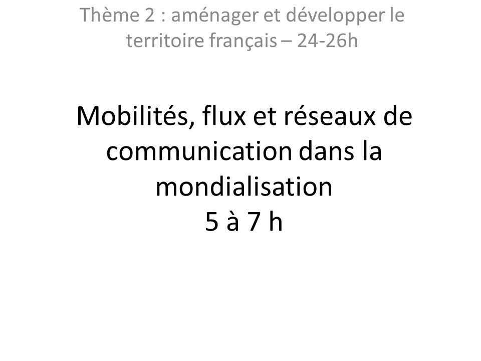 Mobilités, flux et réseaux de communication dans la mondialisation 5 à 7 h Thème 2 : aménager et développer le territoire français – 24-26h
