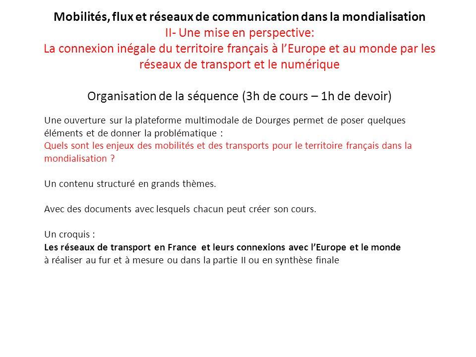 Mobilités, flux et réseaux de communication dans la mondialisation II- Une mise en perspective: La connexion inégale du territoire français à lEurope
