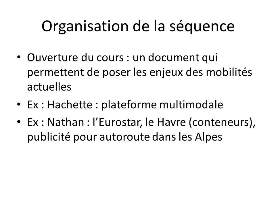 Organisation de la séquence Ouverture du cours : un document qui permettent de poser les enjeux des mobilités actuelles Ex : Hachette : plateforme mul