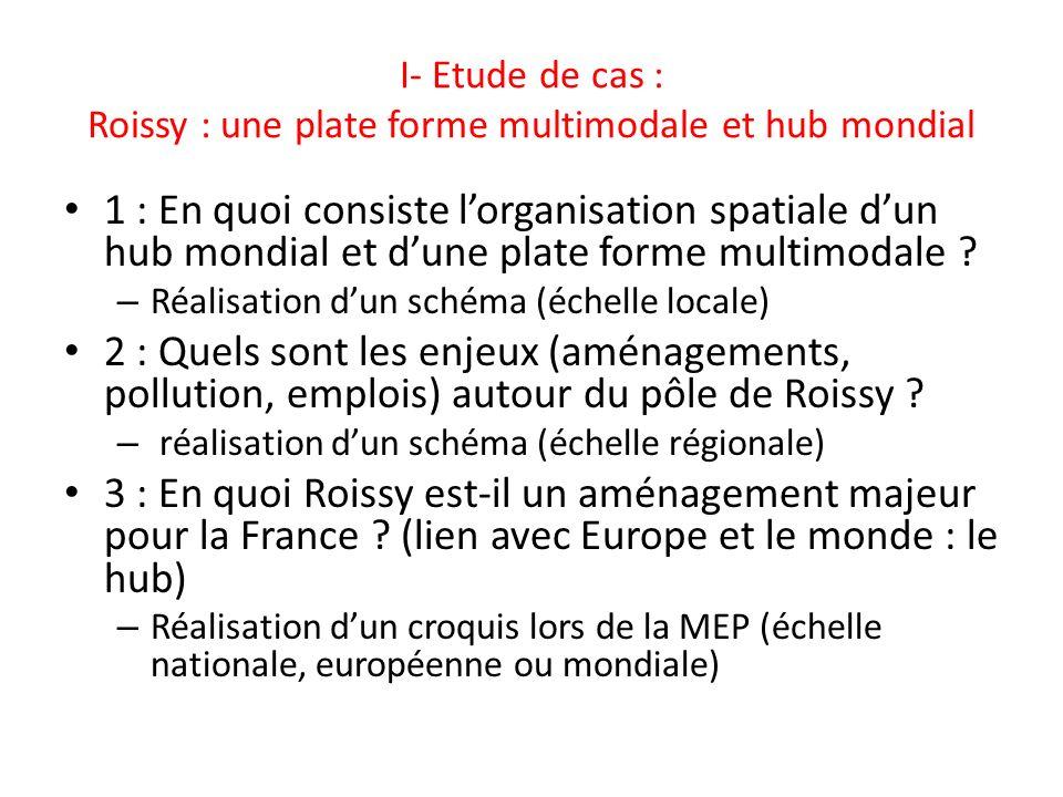 I- Etude de cas : Roissy : une plate forme multimodale et hub mondial 1 : En quoi consiste lorganisation spatiale dun hub mondial et dune plate forme