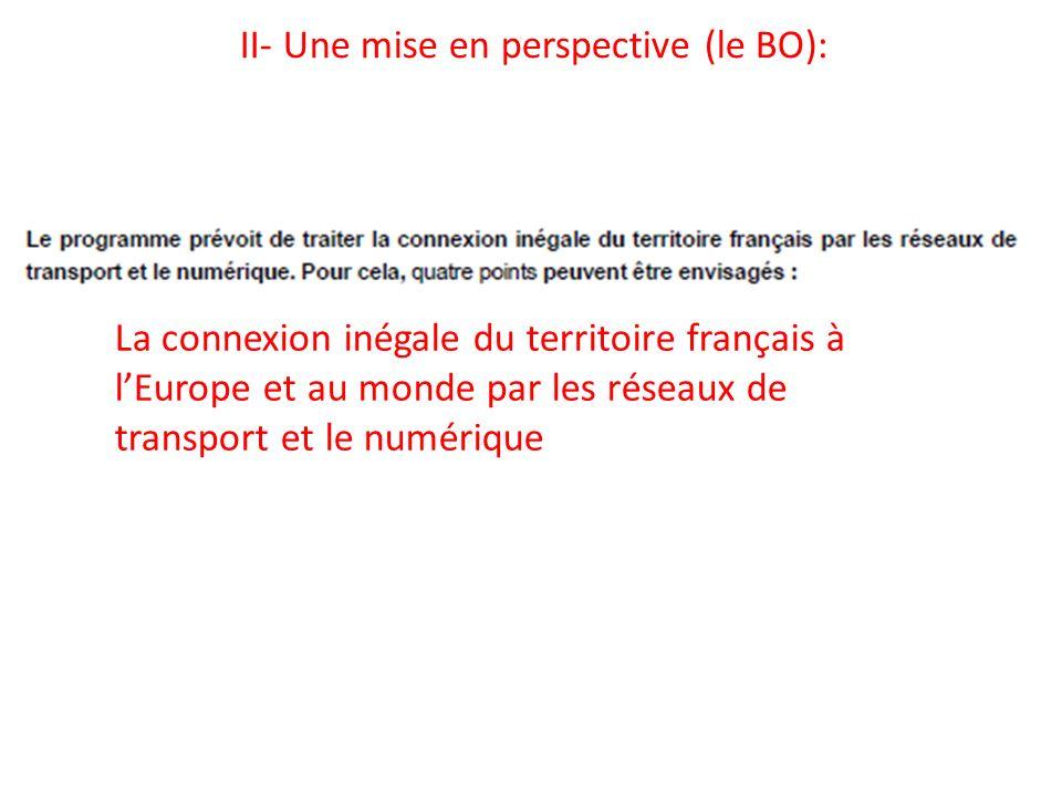 II- Une mise en perspective (le BO): La connexion inégale du territoire français à lEurope et au monde par les réseaux de transport et le numérique