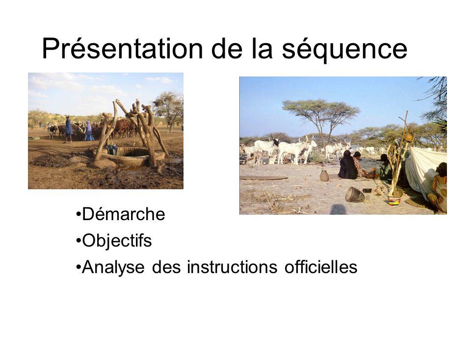 Présentation de la séquence Démarche Objectifs Analyse des instructions officielles