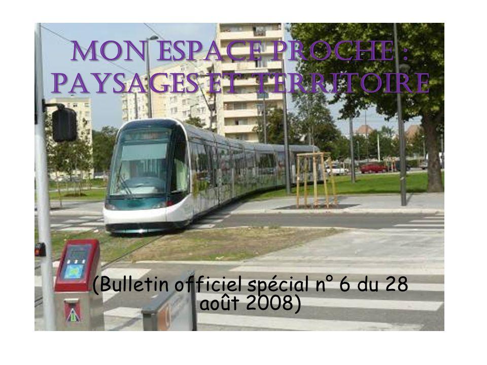 MON ESPACE PROCHE : PAYSAGES ET TERRITOIRE (Bulletin officiel spécial n° 6 du 28 août 2008)
