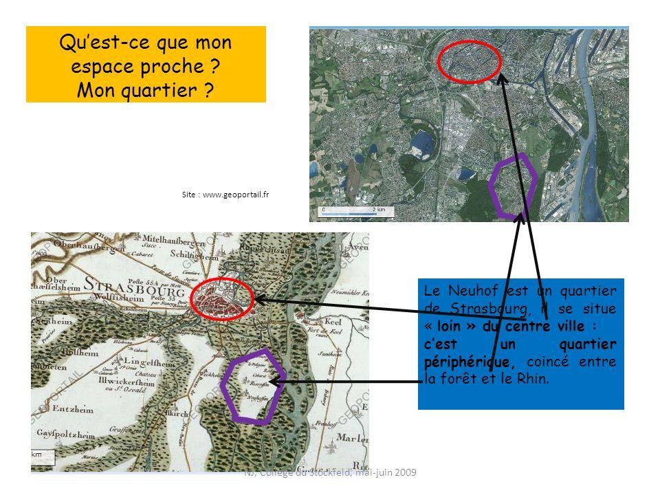 Quest-ce que mon espace proche ? Mon quartier ? Site : www.geoportail.fr Le Neuhof est un quartier de Strasbourg, il se situe « loin » du centre ville
