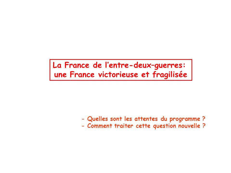 La France de lentre-deux–guerres: une France victorieuse et fragilisée - Quelles sont les attentes du programme ? - Comment traiter cette question nou