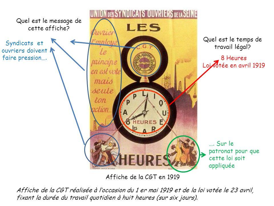 Affiche de la CGT en 1919 Quel est le temps de travail légal? 8 Heures Loi votée en avril 1919 Quel est le message de cette affiche? Syndicats et ouvr