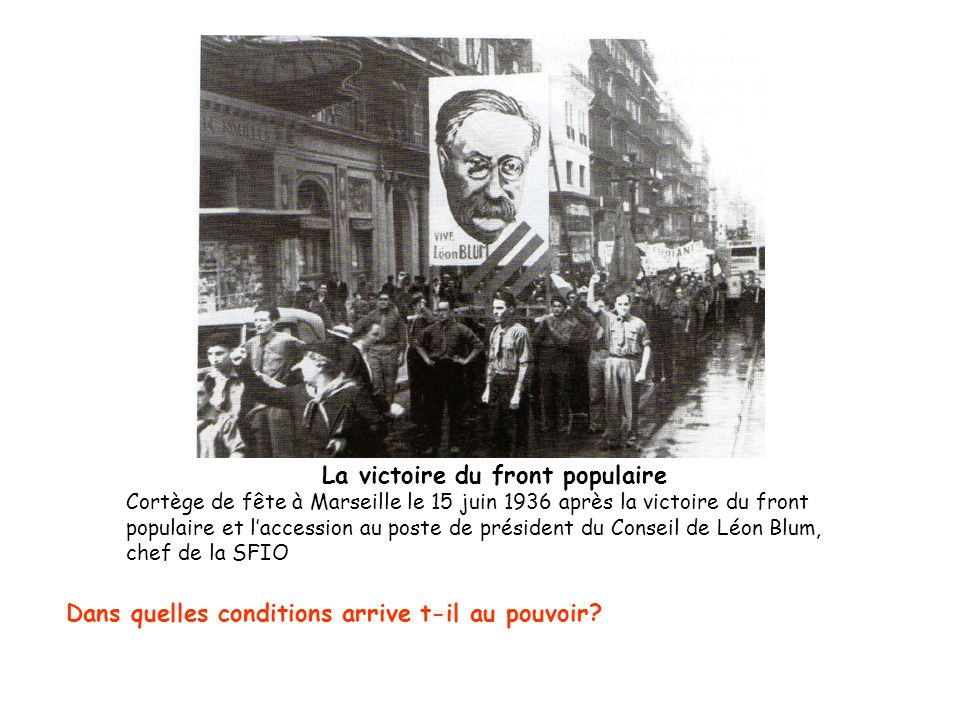 La victoire du front populaire Cortège de fête à Marseille le 15 juin 1936 après la victoire du front populaire et laccession au poste de président du