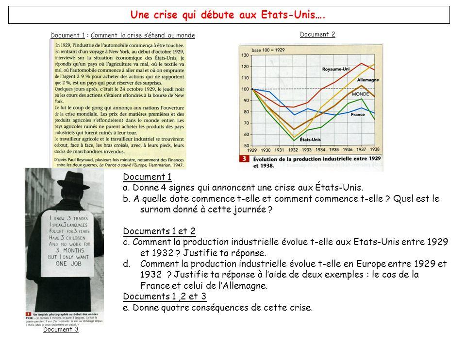 Document 1 : Comment la crise sétend au monde Document 2 Document 3 Une crise qui débute aux Etats-Unis…. Document 1 a. Donne 4 signes qui annoncent u