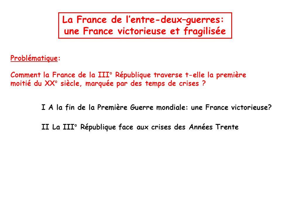 La France de lentre-deux–guerres: une France victorieuse et fragilisée Problématique: Comment la France de la III° République traverse t-elle la premi
