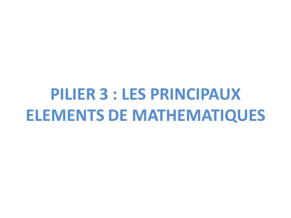 PILIER 3 : LES PRINCIPAUX ELEMENTS DE MATHEMATIQUES