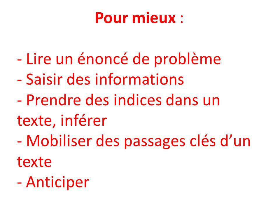Pour mieux : - Lire un énoncé de problème - Saisir des informations - Prendre des indices dans un texte, inférer - Mobiliser des passages clés dun texte - Anticiper