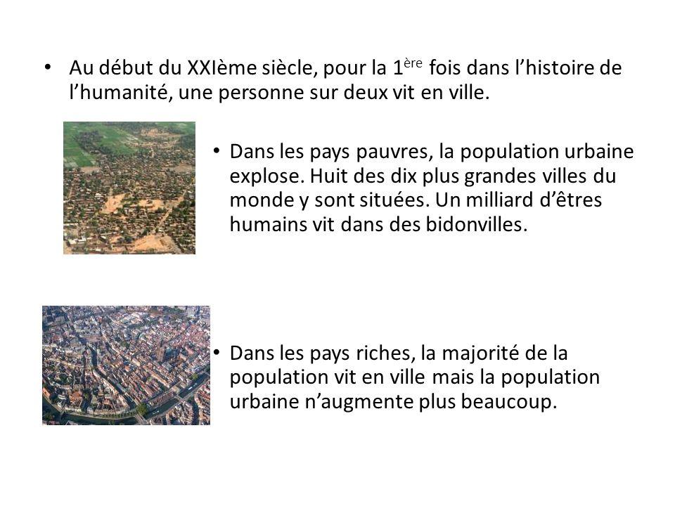 Au début du XXIème siècle, pour la 1 ère fois dans lhistoire de lhumanité, une personne sur deux vit en ville. Dans les pays pauvres, la population ur
