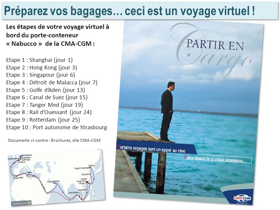 Préparez vos bagages… ceci est un voyage virtuel ! Les étapes de votre voyage virtuel à bord du porte-conteneur « Nabucco » de la CMA-CGM : Etape 1 :