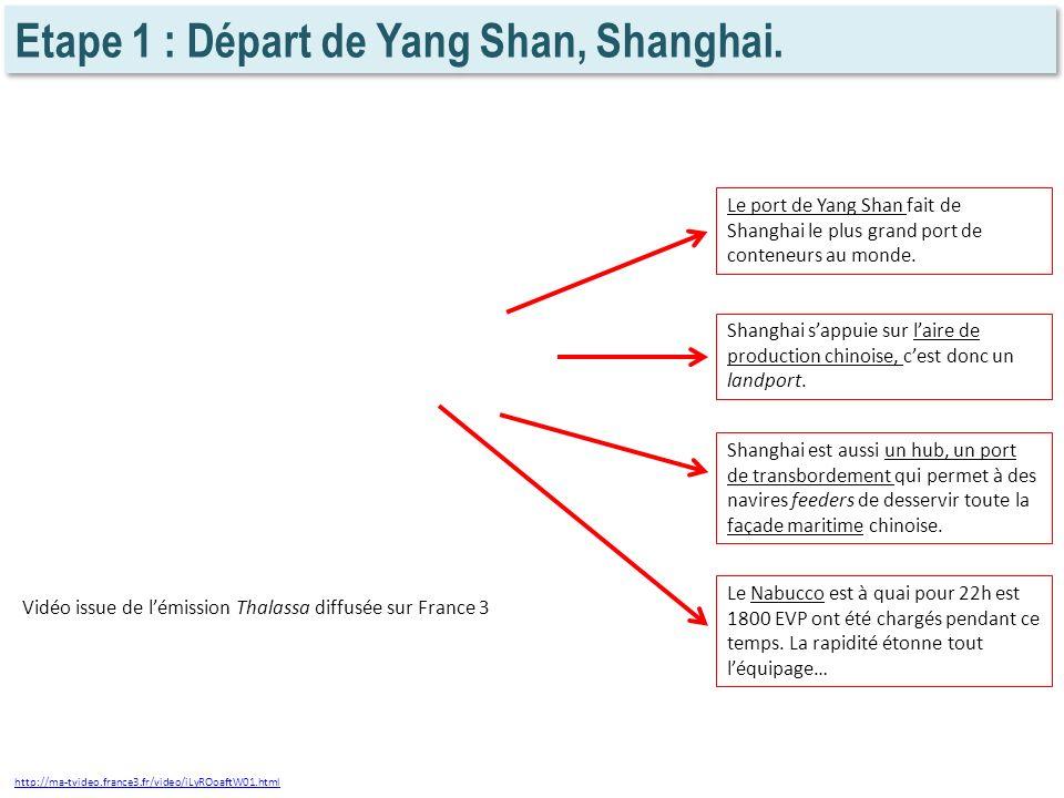 Etape 1 : Départ de Yang Shan, Shanghai. http://ma-tvideo.france3.fr/video/iLyROoaftW01.html Le port de Yang Shan fait de Shanghai le plus grand port