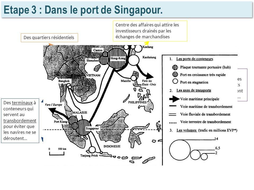 Etape 3 : Dans le port de Singapour. Centre des affaires qui attire les investisseurs drainés par les échanges de marchandises Des quartiers résidenti