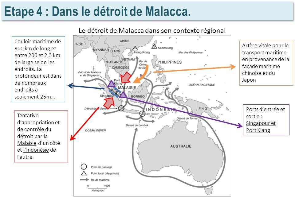 Etape 4 : Dans le détroit de Malacca. Le détroit de Malacca dans son contexte régional Couloir maritime de 800 km de long et entre 200 et 2,3 km de la