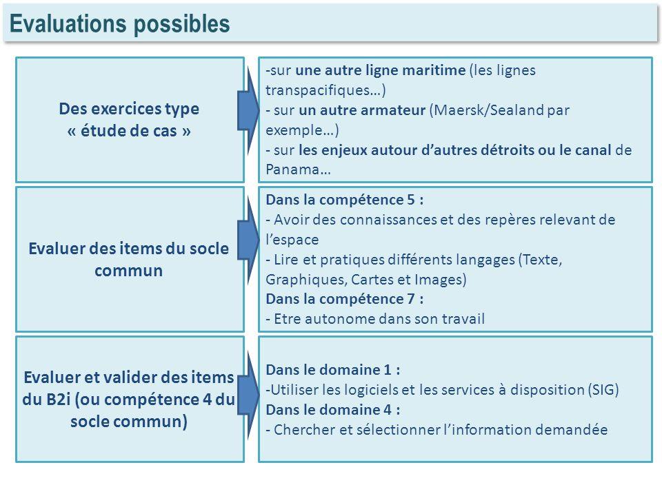 Evaluations possibles Des exercices type « étude de cas » Evaluer des items du socle commun Evaluer et valider des items du B2i (ou compétence 4 du so