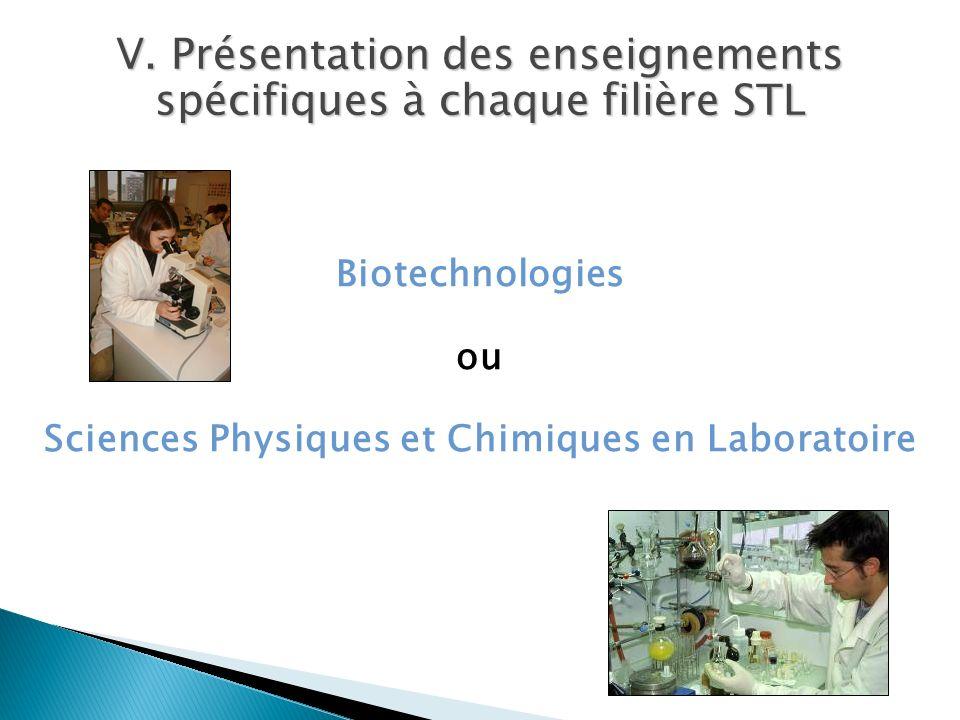 V. Présentation des enseignements spécifiques à chaque filière STL Biotechnologies ou Sciences Physiques et Chimiques en Laboratoire