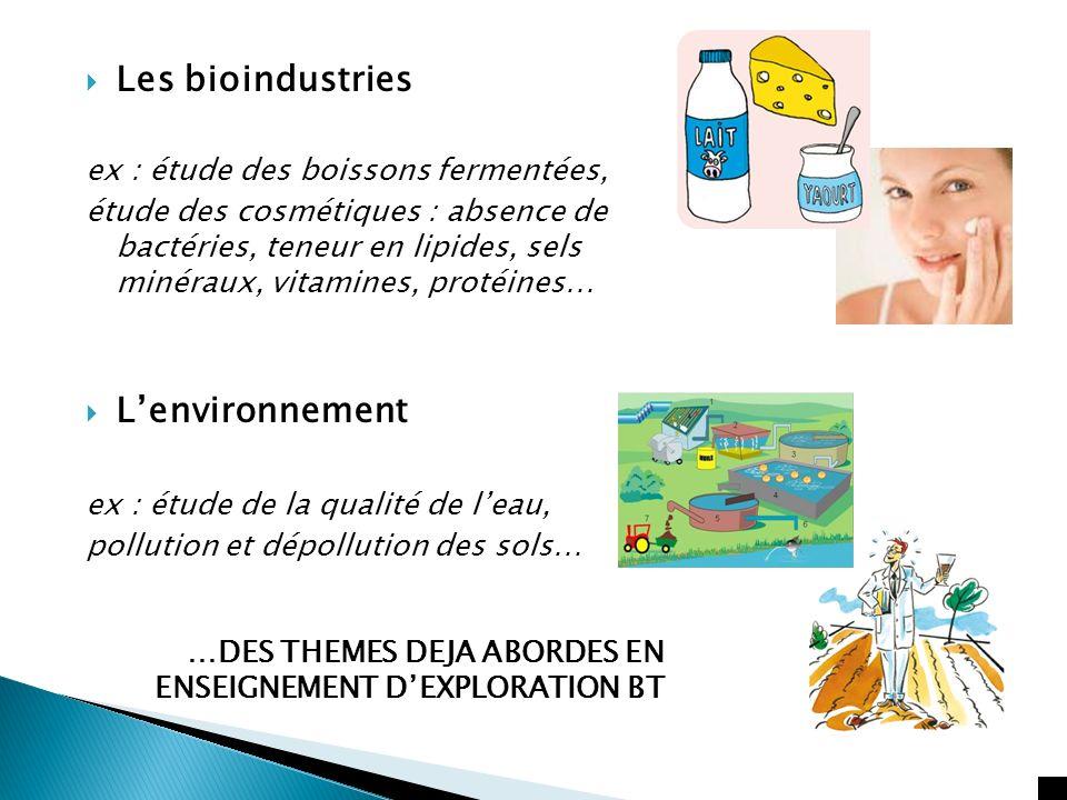 Les bioindustries ex : étude des boissons fermentées, étude des cosmétiques : absence de bactéries, teneur en lipides, sels minéraux, vitamines, proté