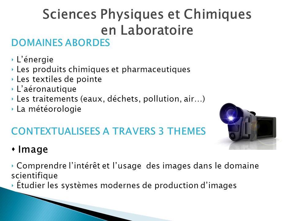 Sciences Physiques et Chimiques en Laboratoire CONTEXTUALISEES A TRAVERS 3 THEMES Image Comprendre lintérêt et lusage des images dans le domaine scien