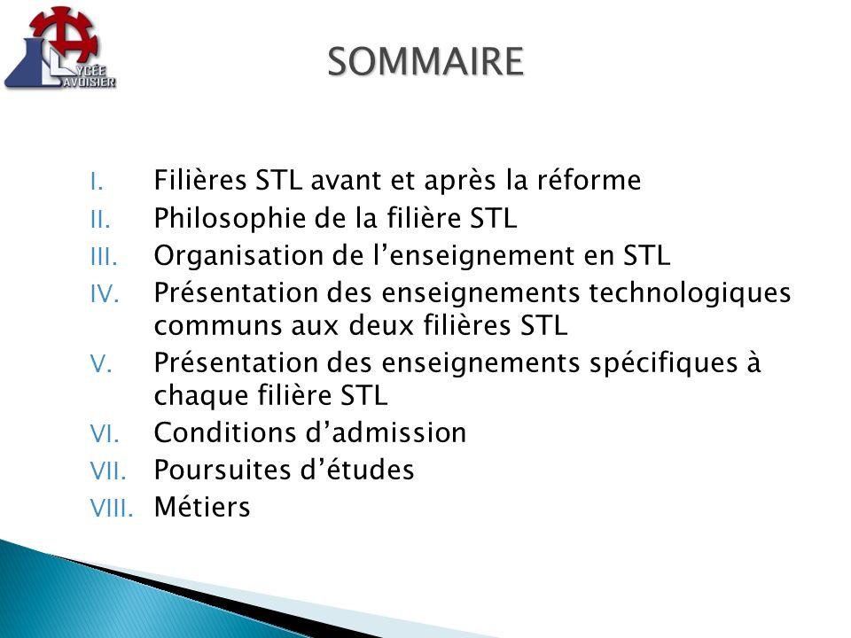 I. Filières STL avant et après la réforme II. Philosophie de la filière STL III. Organisation de lenseignement en STL IV. Présentation des enseignemen