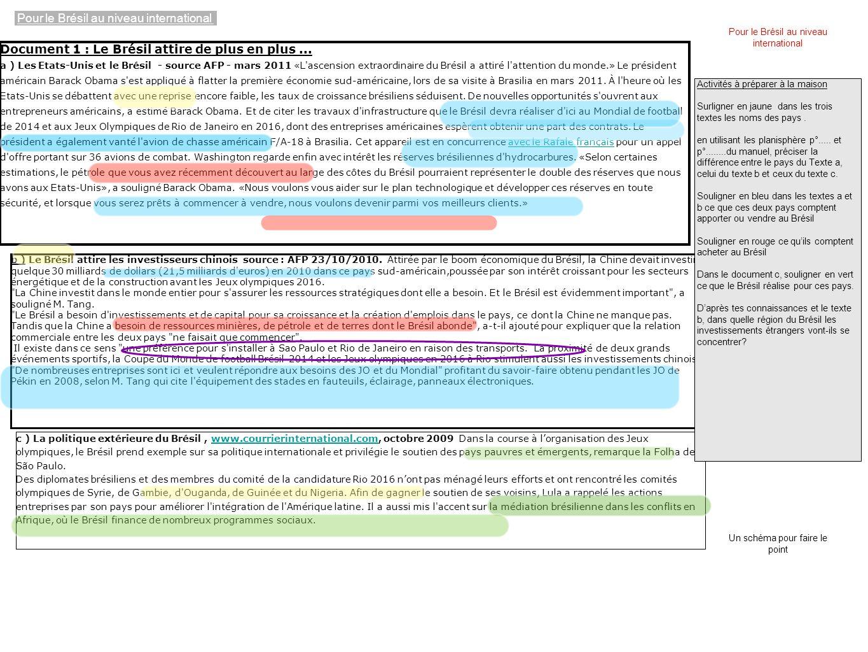 Document 1 : Le Brésil attire de plus en plus...