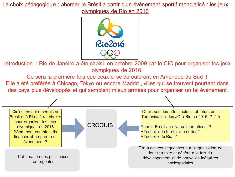 croquis Amazone Océan Atlantique 3 - Quels sont les effets actuels et futurs de lorganisation des JO à Rio en 2016 .