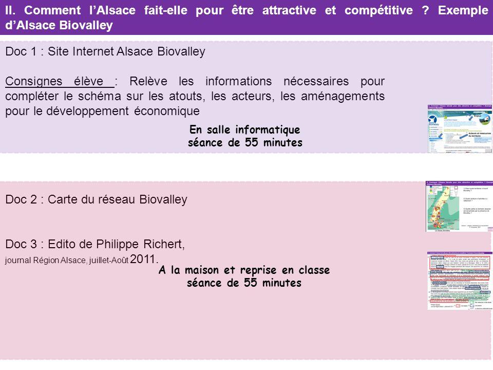 Doc 1 : Site Internet Alsace Biovalley Consignes élève : Relève les informations nécessaires pour compléter le schéma sur les atouts, les acteurs, les