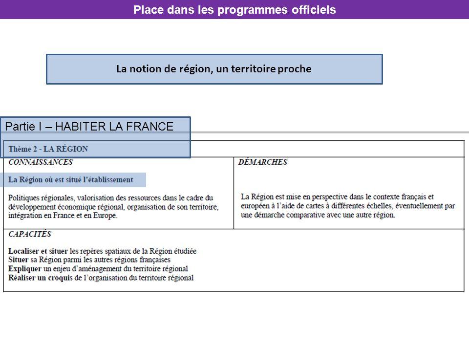 La notion de région, un territoire proche Place dans les programmes officiels Partie I – HABITER LA FRANCE