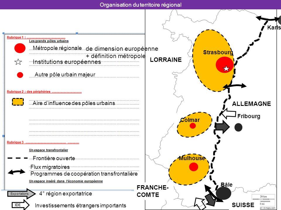 SUISSE ALLEMAGNE FRANCHE- COMTE LORRAINE Bâle Karlsruhe Organisation du territoire régional Mulhouse Strasbourg Colmar Fribourg Métropole régionale Au