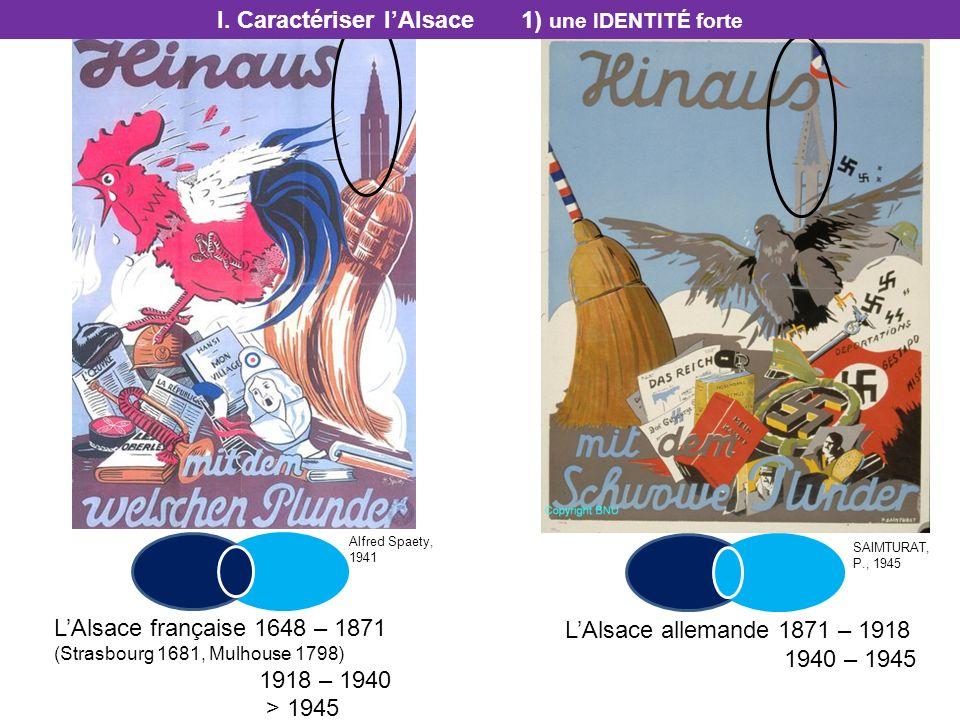 LAlsace allemande 1871 – 1918 1940 – 1945 LAlsace française 1648 – 1871 (Strasbourg 1681, Mulhouse 1798) 1918 – 1940 > 1945 I. Caractériser lAlsace 1)