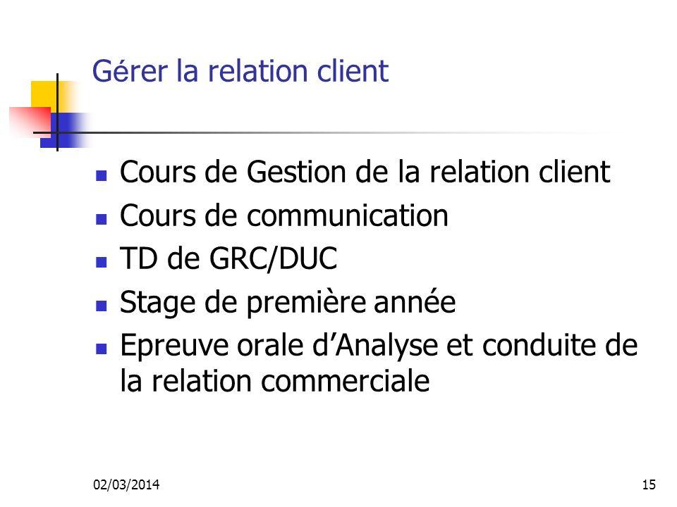 02/03/201414 G é rer la relation avec le client Analyser les besoins des clients Développer une relation de service Gérer les approvisionnements Fixer