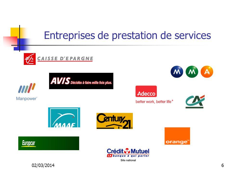 02/03/20146 Entreprises de prestation de services