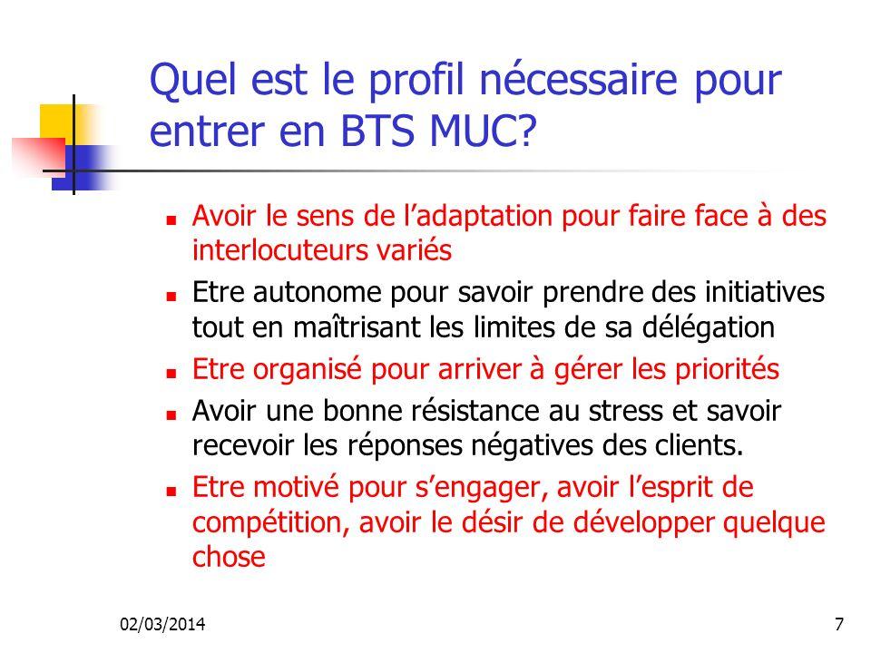 02/03/20147 Quel est le profil nécessaire pour entrer en BTS MUC.