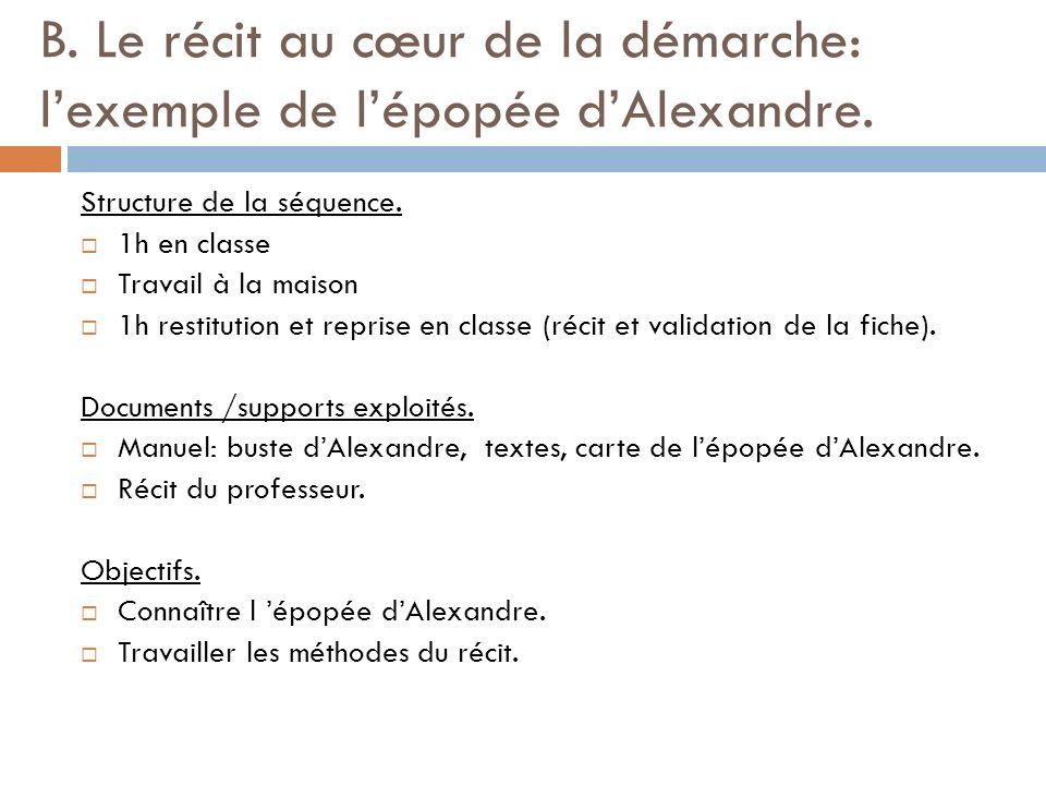 B.Le récit au cœur de la démarche: lexemple de lépopée dAlexandre.