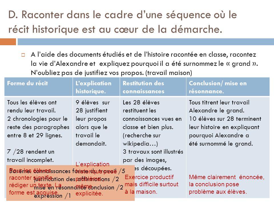 D.Raconter dans le cadre dune séquence où le récit historique est au cœur de la démarche.