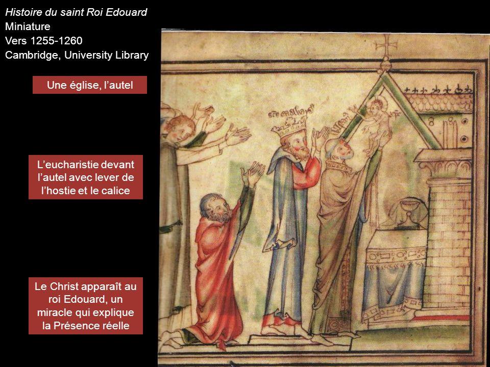 Une église, lautel Leucharistie devant lautel avec lever de lhostie et le calice Le Christ apparaît au roi Edouard, un miracle qui explique la Présenc