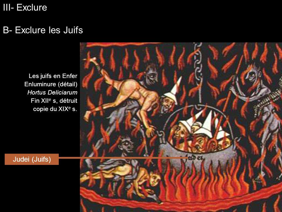 Les juifs en Enfer Enluminure (détail) Hortus Deliciarum Fin XII e s, détruit copie du XIX e s. Judei (Juifs) III- Exclure B- Exclure les Juifs