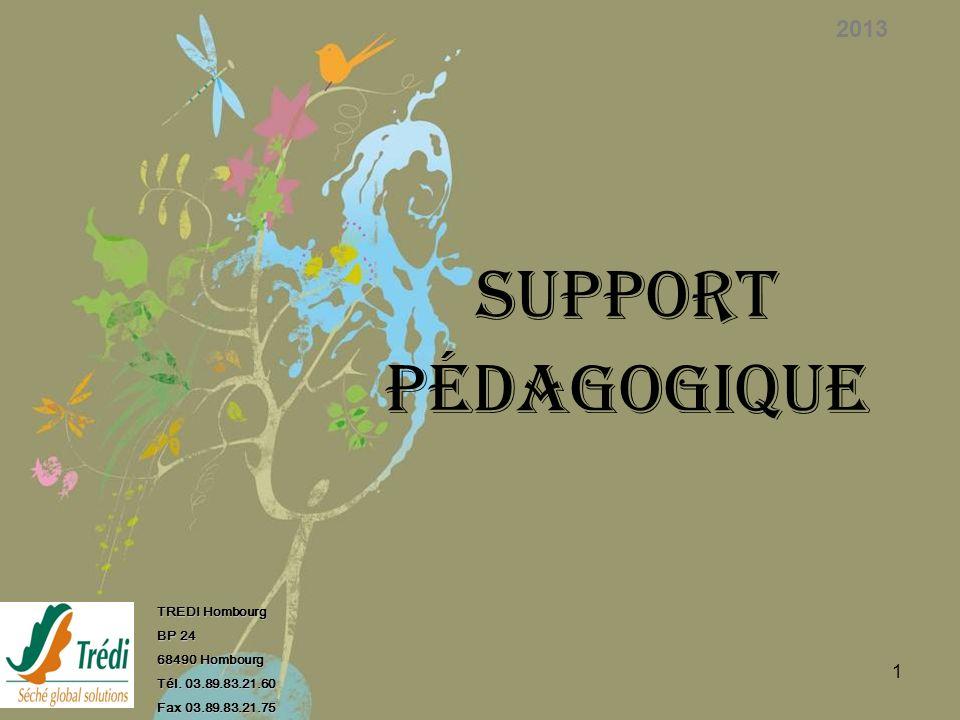 1 SUPPORT PÉDAGOGIQUE 2013 TREDI Hombourg BP 24 68490 Hombourg Tél. 03.89.83.21.60 Fax 03.89.83.21.75