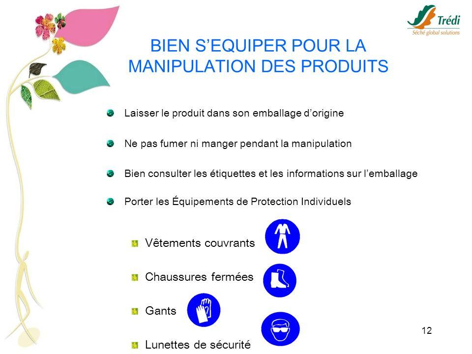 12 BIEN SEQUIPER POUR LA MANIPULATION DES PRODUITS Laisser le produit dans son emballage dorigine Ne pas fumer ni manger pendant la manipulation Bien