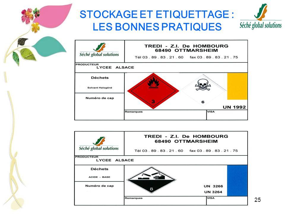 25 STOCKAGE ET ETIQUETTAGE : LES BONNES PRATIQUES