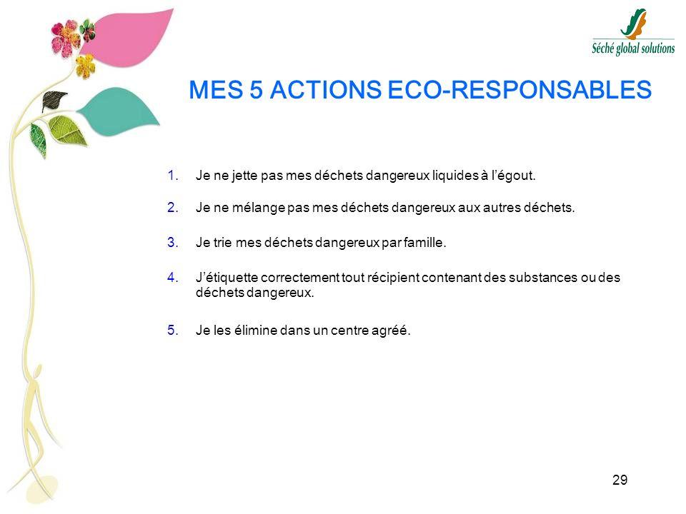 29 MES 5 ACTIONS ECO-RESPONSABLES 1.Je ne jette pas mes déchets dangereux liquides à légout. 2.Je ne mélange pas mes déchets dangereux aux autres déch