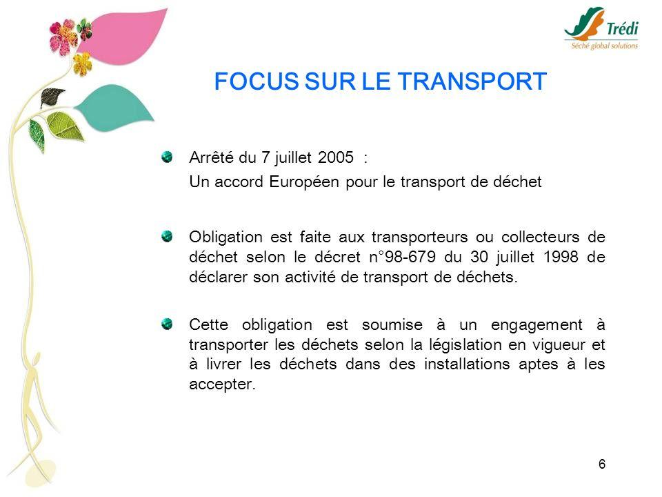 6 FOCUS SUR LE TRANSPORT Arrêté du 7 juillet 2005 : Un accord Européen pour le transport de déchet Obligation est faite aux transporteurs ou collecteu