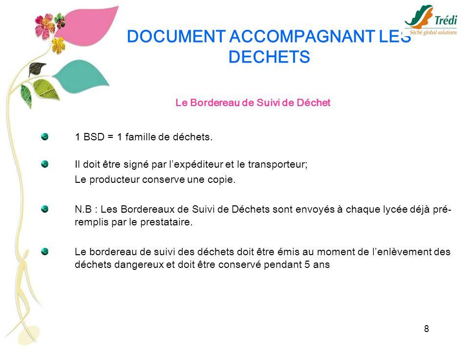 8 DOCUMENT ACCOMPAGNANT LES DECHETS Le Bordereau de Suivi de Déchet 1 BSD = 1 famille de déchets. Il doit être signé par lexpéditeur et le transporteu