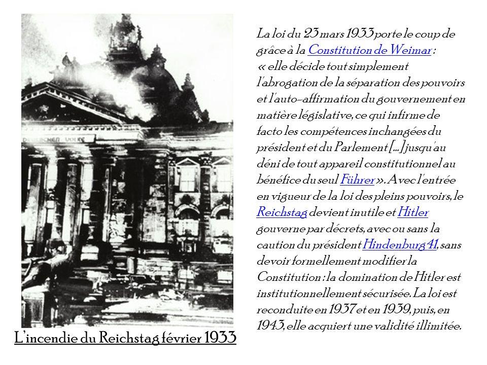 La loi du 23 mars 1933 porte le coup de grâce à la Constitution de Weimar : « elle décide tout simplement l'abrogation de la séparation des pouvoirs e