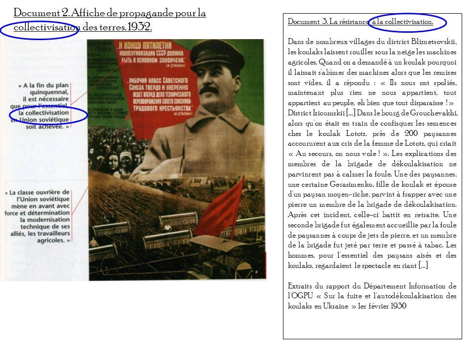 Document 2. Affiche de propagande pour la collectivisation des terres. 1932. Document 3. La résistance à la collectivisation. Dans de nombreux village