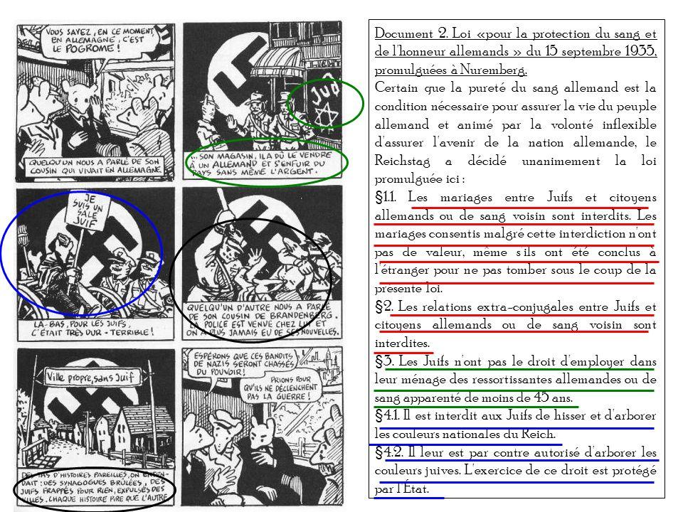 Document 2. Loi «pour la protection du sang et de l'honneur allemands » du 15 septembre 1935, promulguées à Nuremberg. Certain que la pureté du sang a